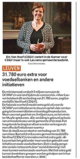 31.780 euro extra naar Leuvense voedselbanken en andere initiatieven
