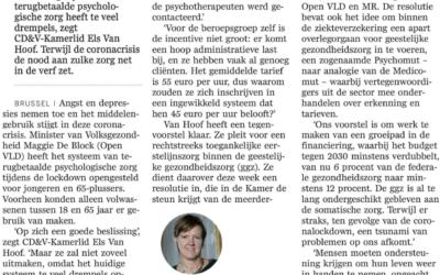 Psychologisch eerstelijnszorg moet beter toegankelijk zijn (artikel DS)