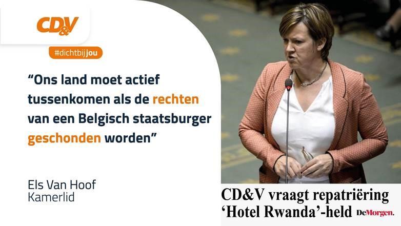 Els Van Hoof (CD&V) vraagt repatriëring 'Hotel Rwanda'-held